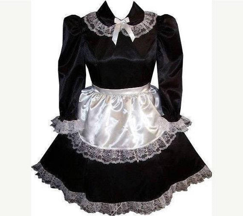 Trisha Custom Fit 2pc Satin French Maid Apron Adult Sissy Dress by Leanne's
