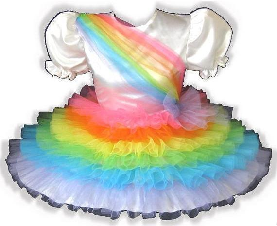 Rainy Custom Fit Satin Rainbow Ruffles Adult Little Girl Sissy Dress by Leanne's