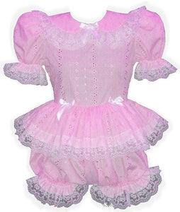 Shirlynne Custom Fit Pink Satin or Eyelet Adult Baby Little Girl Sissy Romper by Leanne's