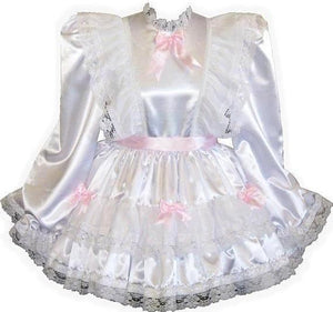 Bonnie Custom Fit Lacy White Satin Ruffles Adult Baby Little Girl Sissy Dress by Leanne's