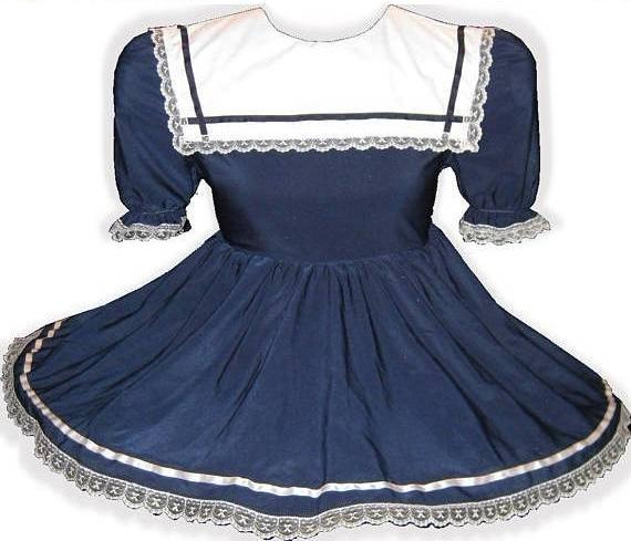 Janice Custom Fit Navy Sailorette Adult Little Girl Baby Sissy Dress by Leanne's