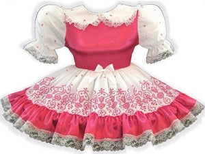 Chrissie Custom Fit Satin & Hot Pink Eyelet Adult Little Girl Baby Sissy Dress by Leanne's