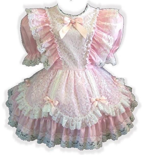 Laura Custom Fit Pink Satin & Lace Adult Little Girl Baby Sissy Dress by Leanne's