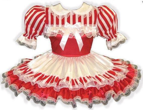 Louise Custom Fit Red White Satin Stripes Adult Little Girl Sissy Dress by Leanne's