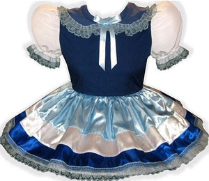 Kristan Custom Fit Blue & White Satin Adult Little Girl Baby Sissy Dress by Leanne's