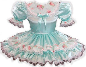 Latessa Custom Fit Mint Satin Floral Adult Little Girl Sissy Dress by Leanne's