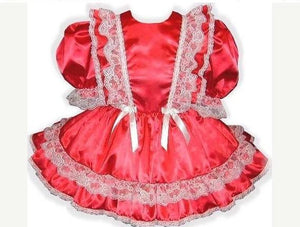 Chantelle Custom Fit Red Satin Adult Baby Little Girl Sissy Dress by Leanne's