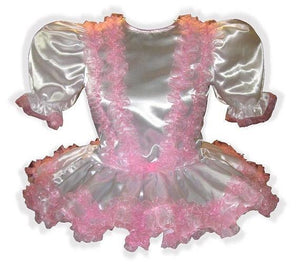 Sharon Custom Fit White Satin Pink Ruffles Adult Little Girl Baby Sissy Dress by Leanne's