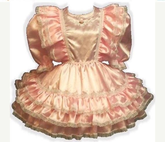 Cheryl Custom Fit Pink Satin Ruffles Adult Baby Little Girl Sissy Dress by Leanne's
