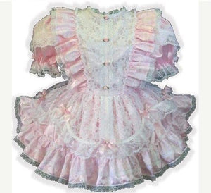 Janet Custom Fit Pink Satin & Lace Ruffles Adult Sissy Baby Dress by Leanne's