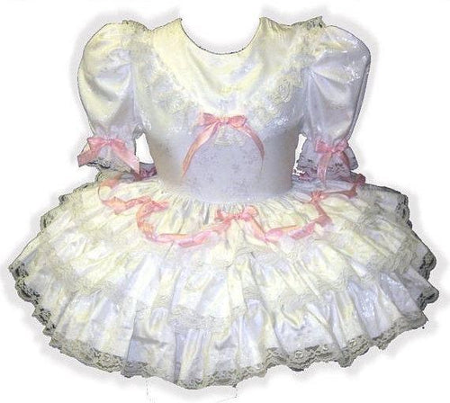 Helen Custom Fit White Satin Pink Bows Adult Baby Sissy Dress by Leanne's