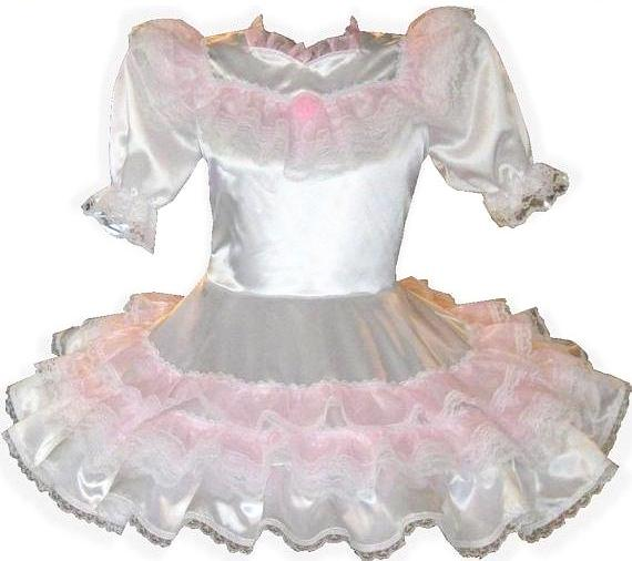 Allison Custom Fit White Satin Pink Organza Ruffles Adult Baby Little Girl Sissy Dress by Leanne's