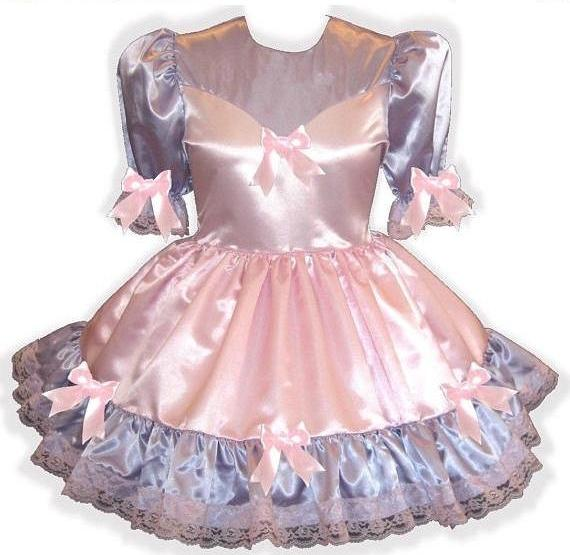 Tillie Custom Fit Pink & Purple Satin Bows Adult Little Girl Sissy Dress by Leanne's