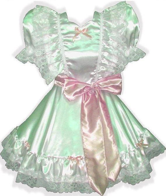 Lanette Custom Fit White Satin Adult Lg Baby Sissy Dress & Sash by Leanne's