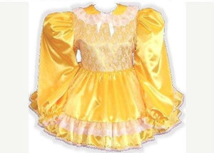 Shelley Custom Fit Long Sleeve Satin Adult Baby Sissy Dress by Leanne's