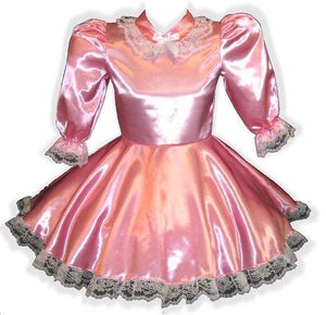 Lorainne Custom Fit Pink Long Sleeve Satin Adult Little Girl Baby Sissy Dress by Leanne's