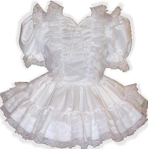 Angela Custom Fit White Satin Lace Adult Little Girl Sissy Baby Dress by Leanne's