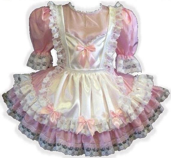 Anne Custom Fit Pink & White Satin Bows Adult Little Girl Baby Sissy Dress by Leanne's