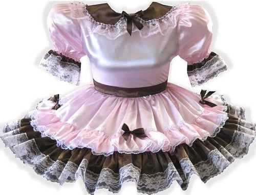 Madeline Custom Fit Lacy Pink Satin Bows Adult Little Girl Sissy Dress