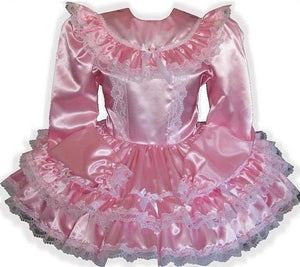 Melanie Custom Fit Pink Satin Long Sleeve Adult Little Girl Sissy Dress by Leanne's