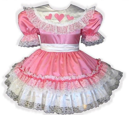 Leah Custom Fit Pink Satin Hearts Ruffles Adult Little Girl Sissy Dress by Leanne's