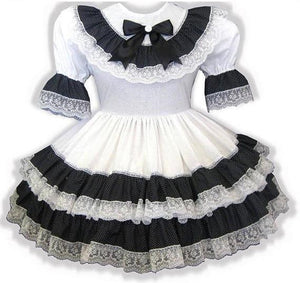 Jane Custom Fit Black White Lacy Ruffles Adult Little Girl Sissy Dress by Leanne's
