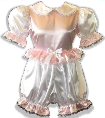 Esther Custom Fit Lacy Pink & White Satin Adult Baby Little Girl Sissy Romper by Leanne's