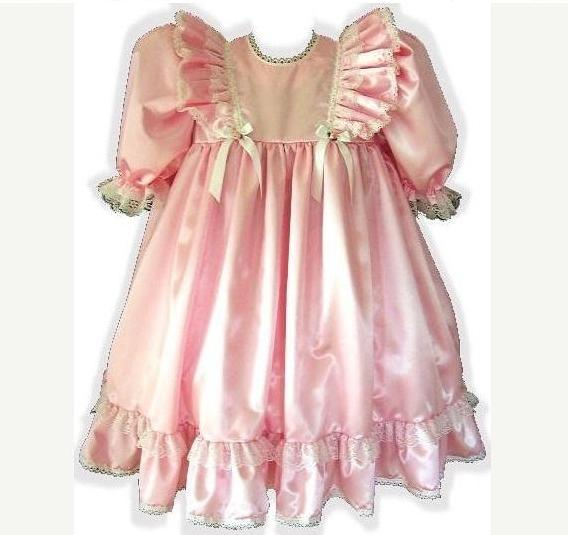 Elizabeth Custom Fit Pink Satin Empire Waist Adult Baby Little Girl Sissy Dress by Leanne's