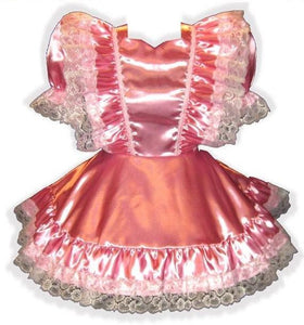 Annette Custom Fit Satin Ruffles Adult Baby Little Girl Sissy Dress by Leanne's
