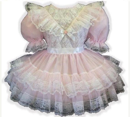 Millie Custom Fit Lacy Pink Sheer Adult Lg Baby Sissy Dress