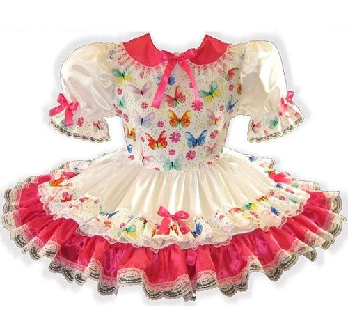 Katelyn Custom Fit Satin Butterflies Adult Little Girl Sissy Dress