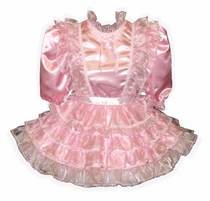 Tiffany Custom Fit Pink Satin Organza Ruffles Adult Little Girl Sissy Dress by Leanne's