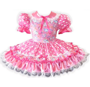 Carla Custom Fit Pink Satin Polka Dots Adult Little Girl Baby Sissy Dress by Leanne's