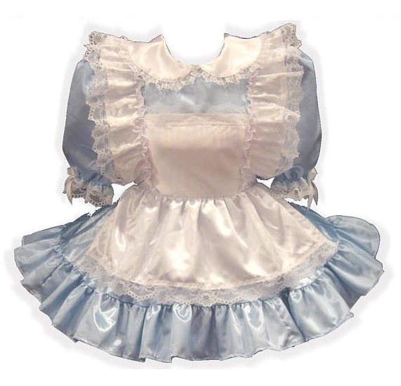 Alice Custom Fit Satin Adult Little Girl Baby Sissy Dress with Pinafore by Leanne's