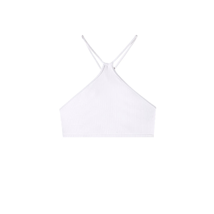 swimwear-ripple-top-two-piece-high-neck-crisscross-adjustable-straps-white-color