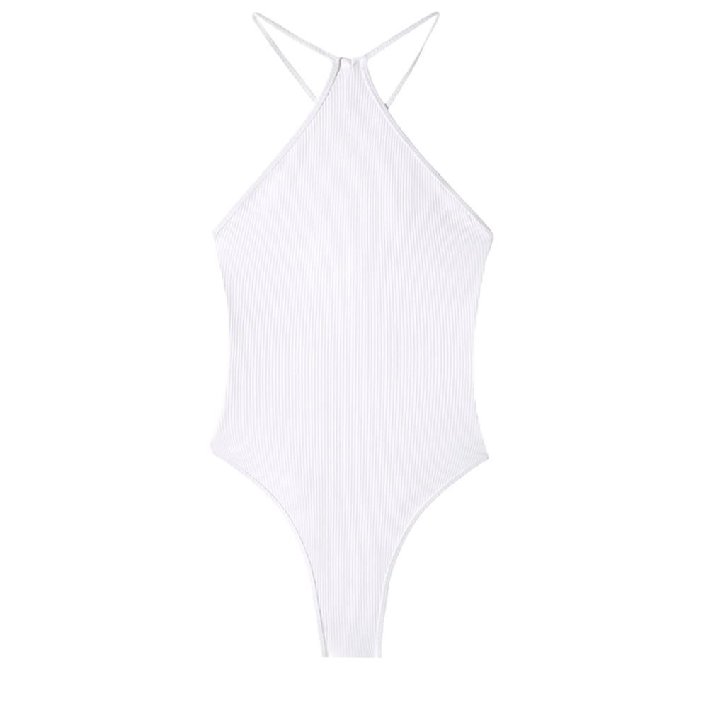 swimwear-ripple-one-piece-bodysuit-high-neck-string-straps-adjustable-tie-high-cut-legs-white-color