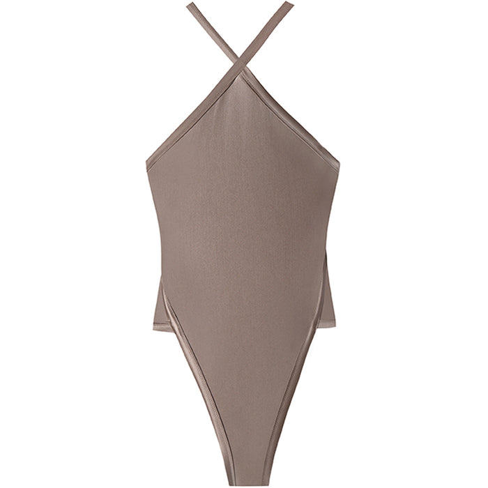 swimwear-perla-one-piece-bodysuit-high-neck-high-cut-legs-low-v-back-shiny-brown-color