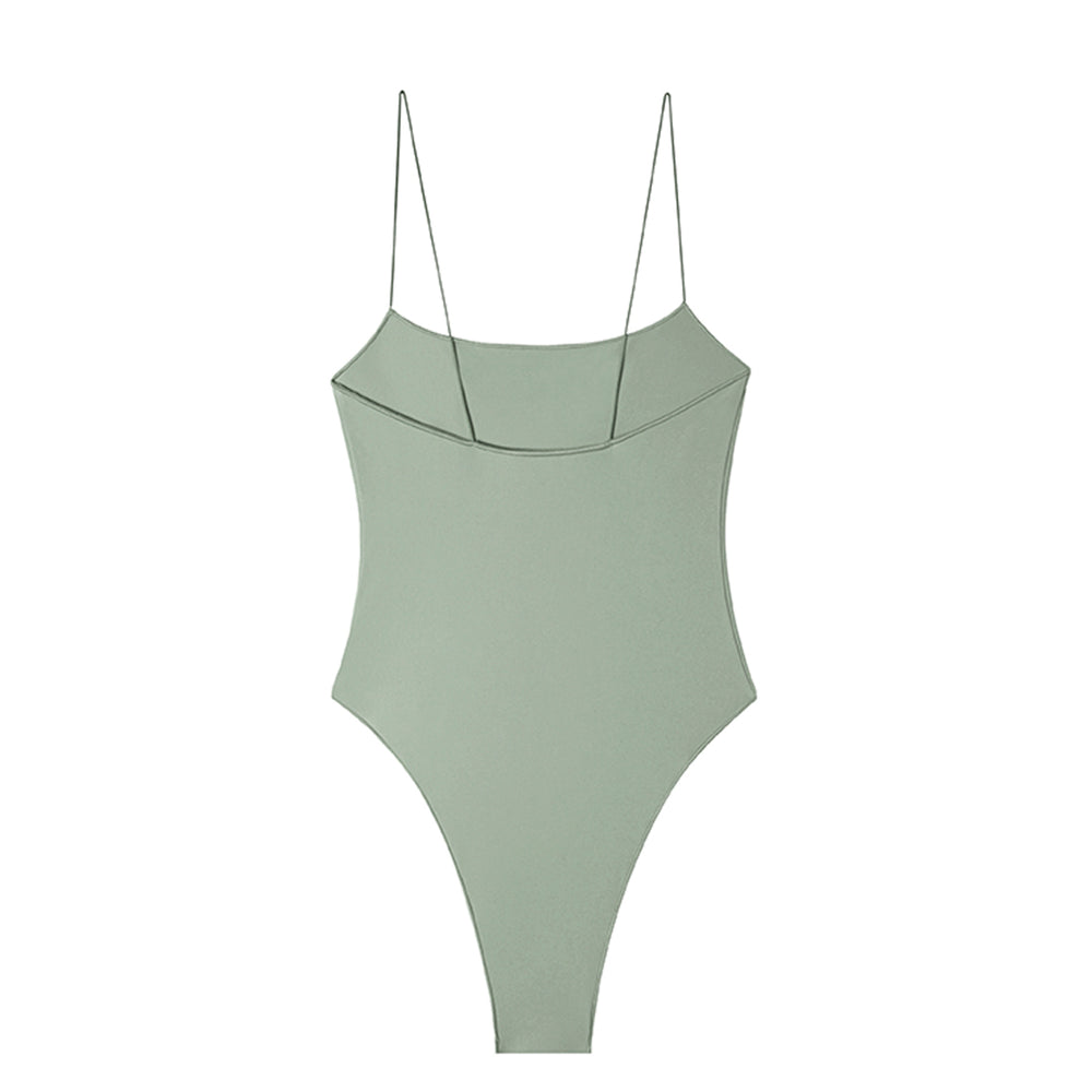swimwear-the-C-one-piece-bodysuit-low-scoop-neckline-skinny-elastic-straps-high-cut-sustainable-fabric-eco-mint-green-color
