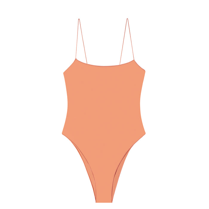 swimwear-the-C-one-piece-bodysuit-low-scoop-neckline-skinny-elastic-straps-high-cut-sustainable-fabric-eco-coral-color