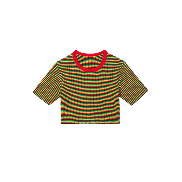 irie top in micro stripe red