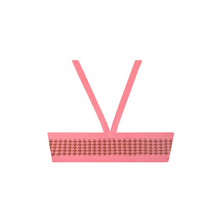 la plage top in pink houndstooth