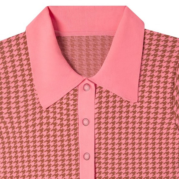 polo bodysuit in pink houndstooth