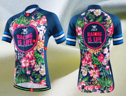 Women's Large Cycling Jersey Bike Bicycle MTB Short Jersey Shirt Flowers
