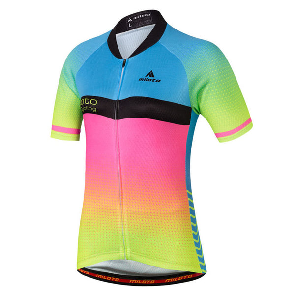 Cycling Team Women Short Sleeve Jersey Top Breathable Bike Wear Anti-sweat