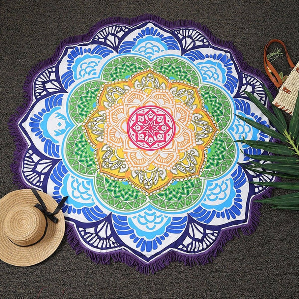 Decor With Small Balls Flowers Pattern 147*147CM Circular Tablecloth Yoga Picnic Mat