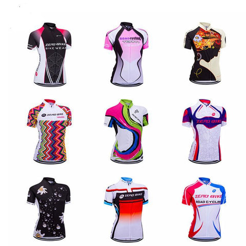 Women's Short Sleeve Cycling Jersey Quick Dry Breathable MTB Bike Clothing Full Zip Tops T-shirt ropa ciclismo US Size