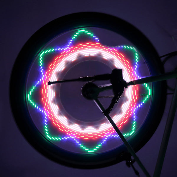 Cool 2 Side 32 LED 32 Mode Night Waterproof Wheel Signal Lamp Reflective Rim Rainbow Tire Bikes Bicycle Fixed Spoke Warn Light
