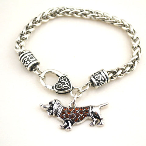 Crystal Dogs Hot sales Wheat Link Bracelet Chain with crystals Mini Dachshund jewelry