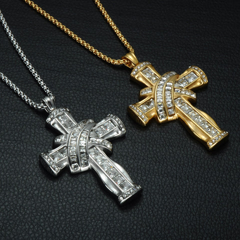 Iced Out Crucifix Pendant Necklaces Gold Color Stainless Steel Religious Cross Necklace for Christian Jewelry