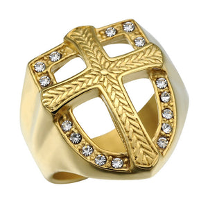 Religious Gold Color Prayer Cross Bijou Ring 316L Titanium Stainless Steel Armor Crystal Cross Rings For Christian Jewelry